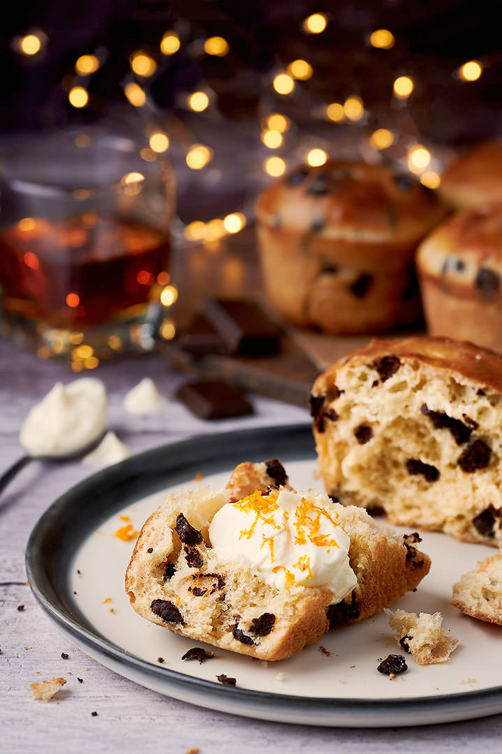 Christmas chocolate and orange panettone